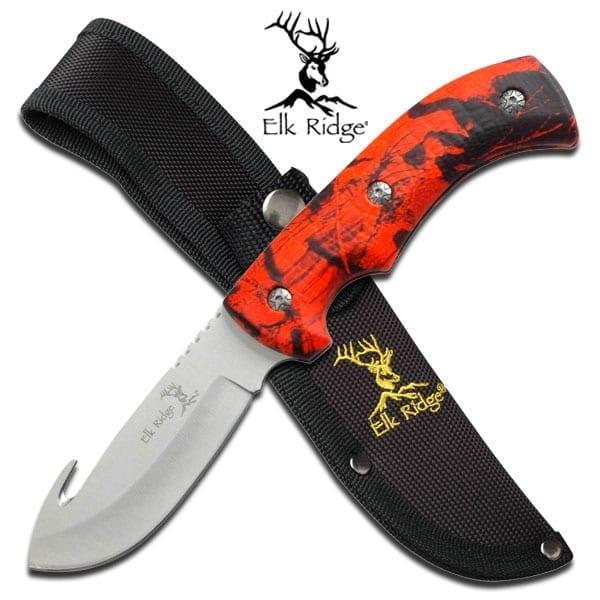 Elk Ridge Fixed Blade Guthook Red Camo (ER274RC)